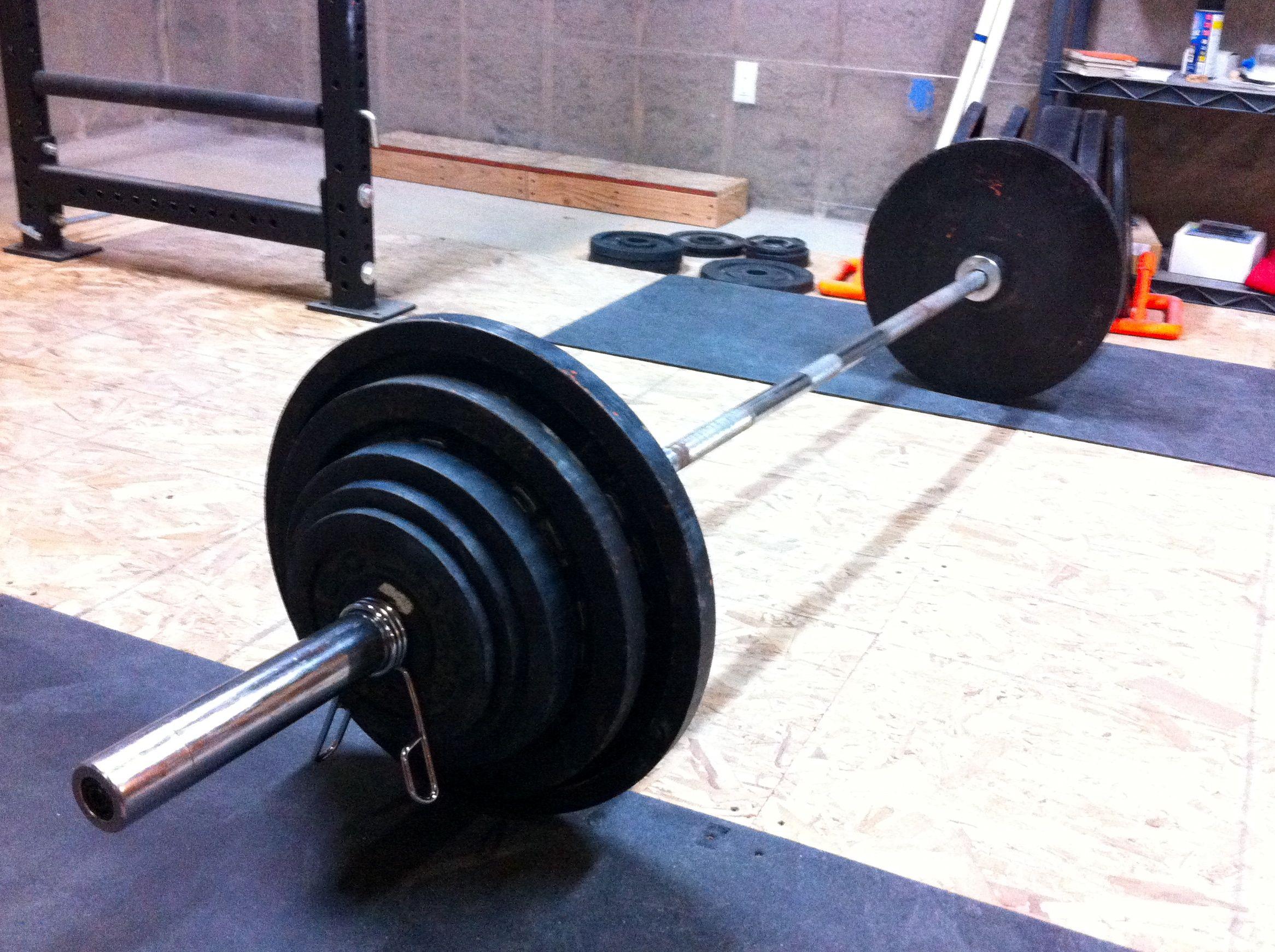 Weight lifting garage gym guy
