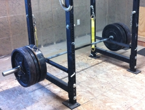 Power rack garage gym guy for Homemade safety squat bar
