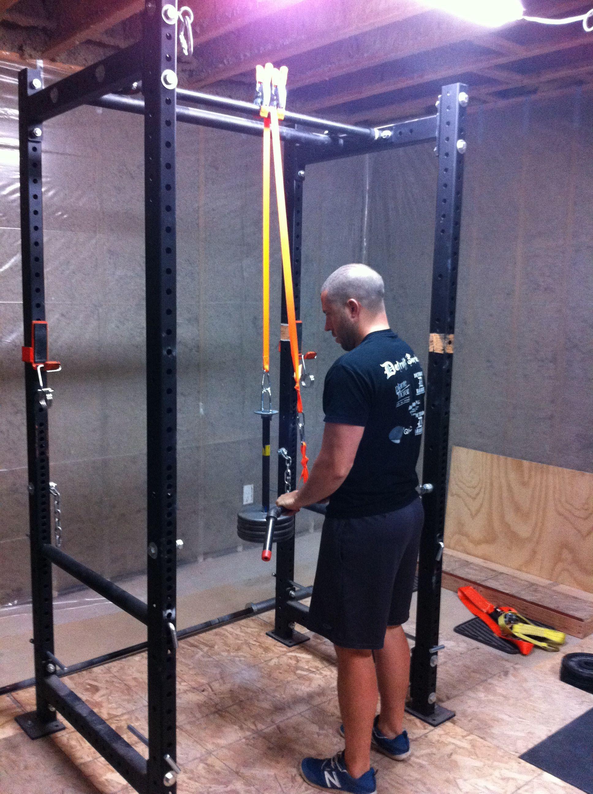 Diy lat pull down garage gym guy for Diy squat rack metal