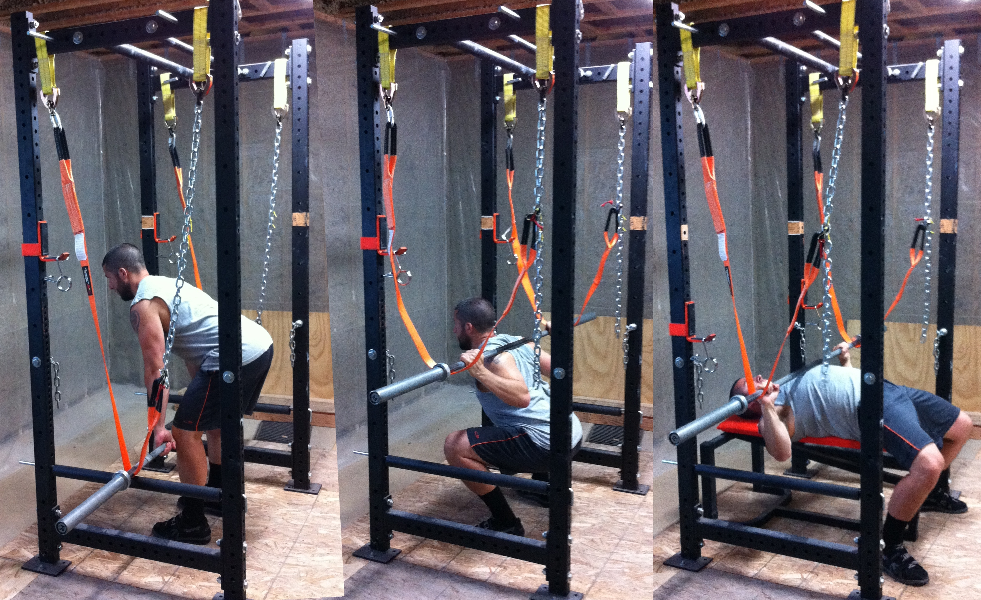 Safety Stands For Bench Press Part - 45: Strap Adjusted For Rack Pulls, Squats And Bench Press